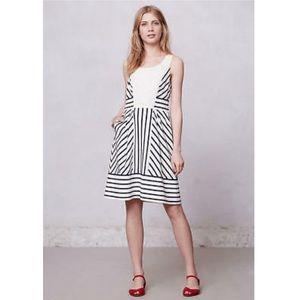 Anthropologie stripe navy dress xs chessia